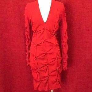 Nicole Miller Ruched Stretch Red Dress Sz S BI0381